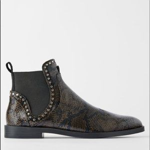 Zara Flat Ankle Boots Snakeskin with Studs size 6